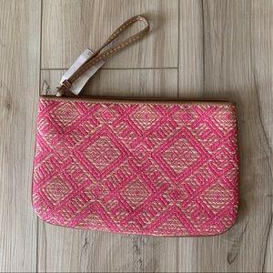 NWT Ann Taylor Loft straw clutch bag